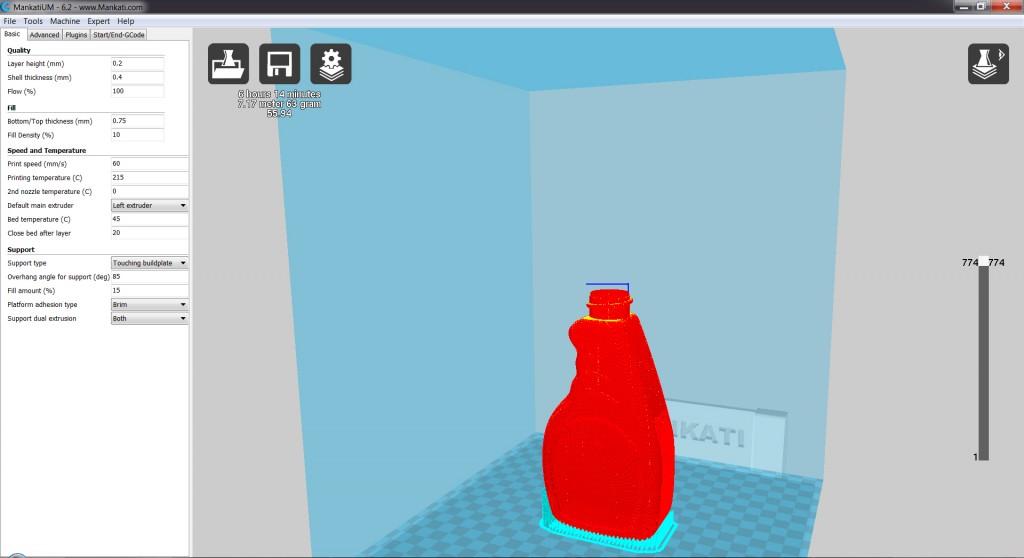 มาดูในส่วน cross section หรือ Preview จะเป็นขวดเป็นสีแดง และส่วนที่เครื่องสร้าง support ให้เป็นสีฟ้า