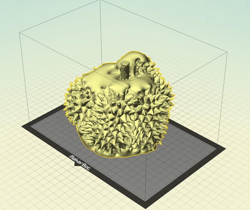 รูปนี้แสดงให้เห็นผลไฟล์ที่ได้จากการ Scan ครั้งที่ 1 (วางตั้ง) จะเห็นว่ามุมอับที่ไม่สามารถเก็บได้คือด้านบนและด้านล่าง