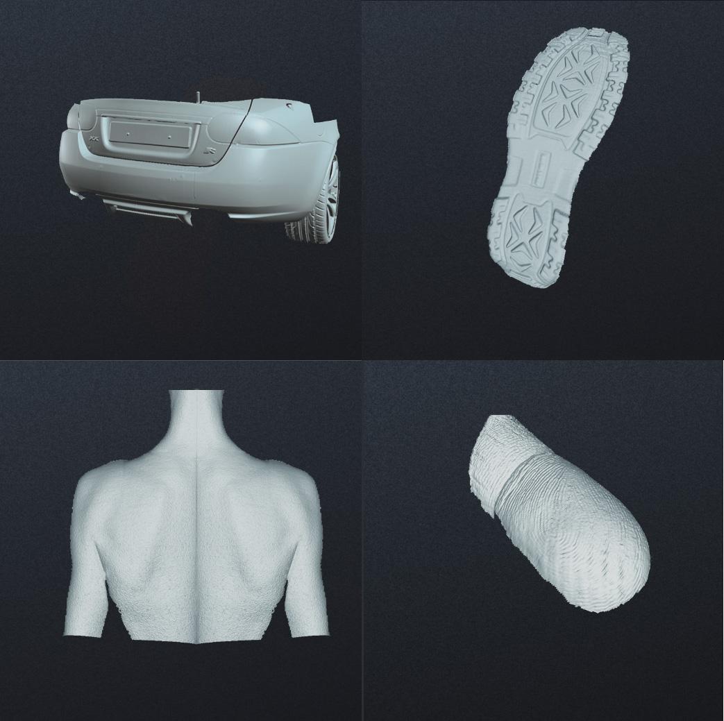 แสดงให้เห็นการประยุกต์ใช้เครื่อง Scan กับว่าเชิงอุตสาหกรรม (ซ้ายบน) ส่วน Bumper และไฟท้ายรถ (ขวาบน) พื้นรองเท้า (ซ้ายล่าง) ใช้ทางการแพทย์ (ขวาล่าง) เก็บรายละเอียดแม้กระทั่งลายนิ้วมือ