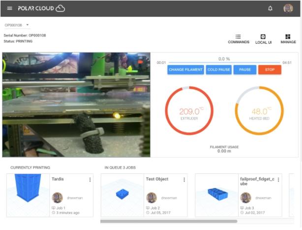 แสดงให้เห็นการดูสถานะการทำงาน สามารถดู video real time(เครื่องที่มีกล้อง) ดูว่าพิมพ์ไปได้กี่เปอร์เซนต์ ความร้อนหัวฉีด เป็นต้น