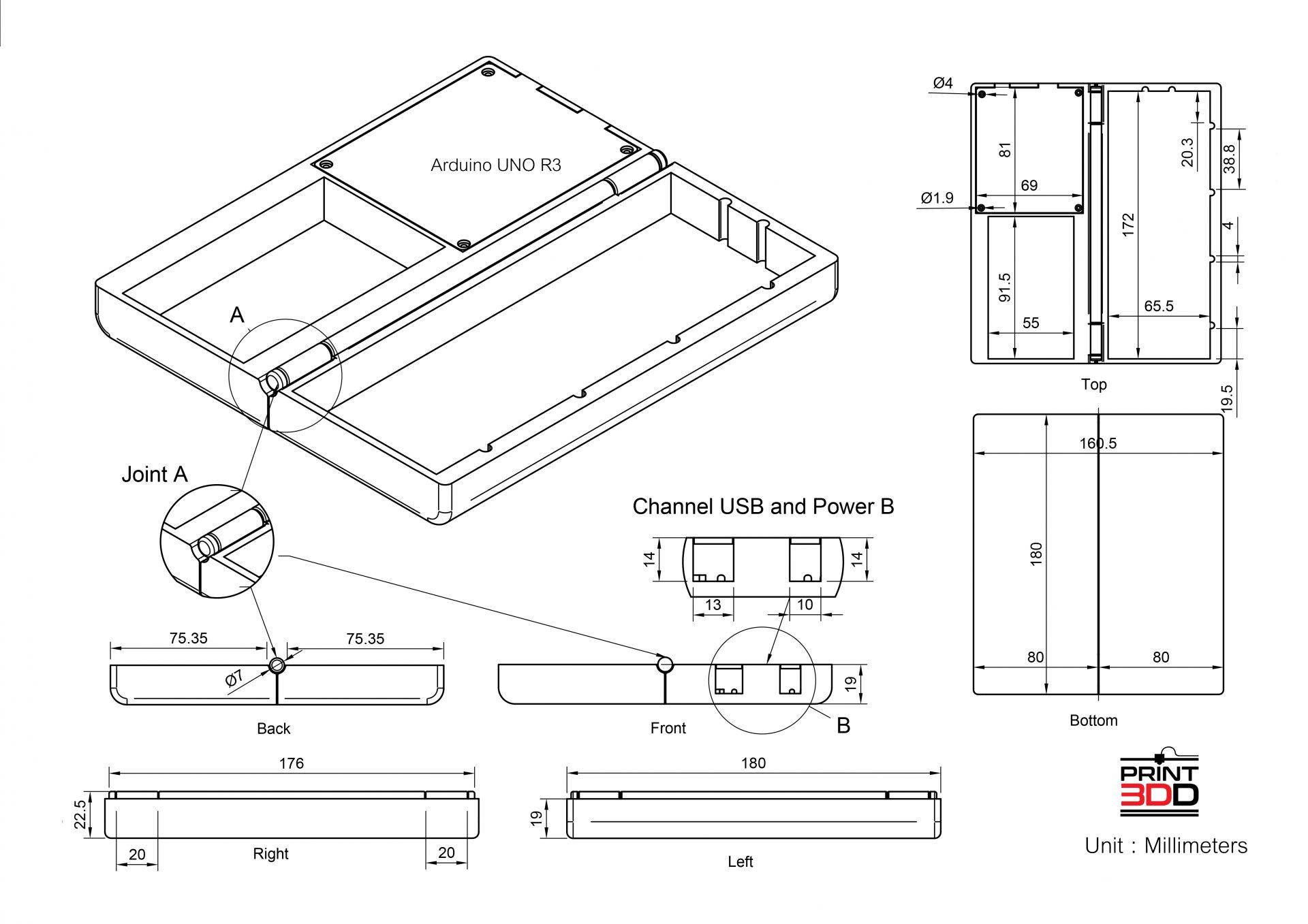 การออกแบบกล่องใส่บอร์ดทดลอง Arduino UNO R3. Part 1 การวัดขนาดและการออกแบบ 2D