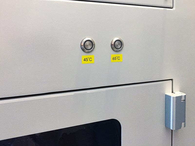 ปุ่มเปิดลมร้อนในห้องเก็บเส้น เลือกอุณหภูมิได้ตามชนิดของเส้นพลาสติก